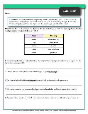 Preview image for worksheet with title Latin Roots
