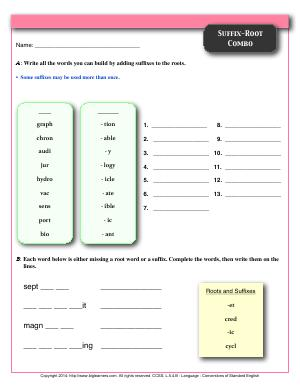 Preview image for worksheet with title Suffix-Root Combo