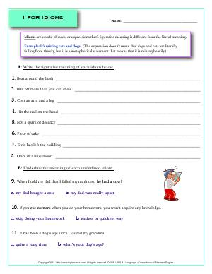 Preview image for worksheet with title I for Idioms