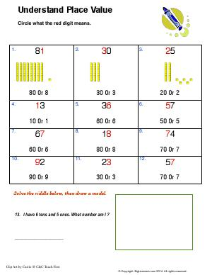 Understand Place Value Second Grade Math Worksheets Biglearners