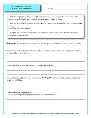 Preview image for worksheet with title Figurative Language :  Similes and Metaphors