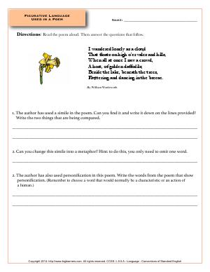 Preview image for worksheet with title Figurative Language Used in a Poem