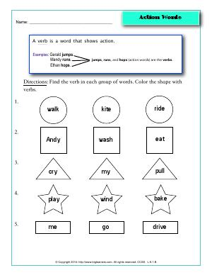 Preview image for worksheet with title Action Words