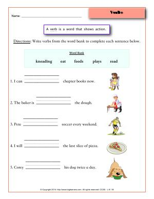 Preview image for worksheet with title Verbs