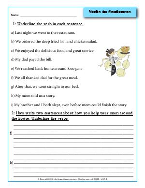 Preview image for worksheet with title Verbs in Sentences