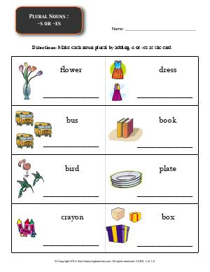 Preview image for worksheet with title Plural Nouns : -s or -es