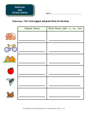 Preview image for worksheet with title Singular 