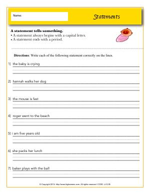 Preview image for worksheet with title Statements