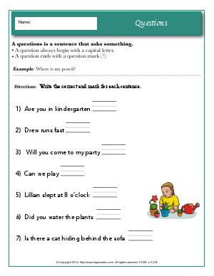 Preview image for worksheet with title Questions