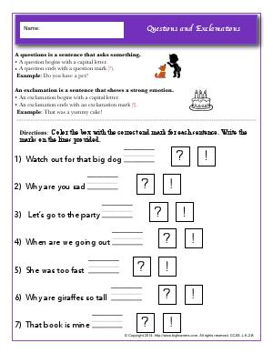 Preview image for worksheet with title Questions and Exclamations
