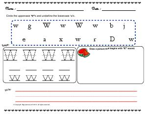 Preview image for worksheet with title Letter 'W'