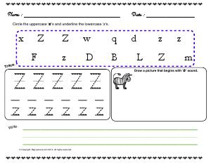 Preview image for worksheet with title Letter 'Zz'