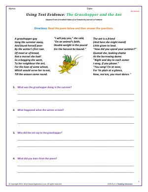 Preview image for worksheet with title Using Text Evidence: The Grasshopper and the Ant