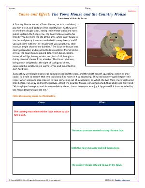 Preview image for worksheet with title Cause and Effect: The Town Mouse and the Country Mouse