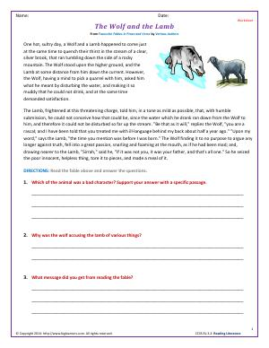 Preview image for worksheet with title The Wolf and the Lamb