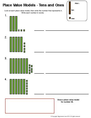 Preview image for worksheet with title Place Value Models - Tens and Ones