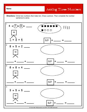 Preview image for worksheet with title Adding Three Numbers