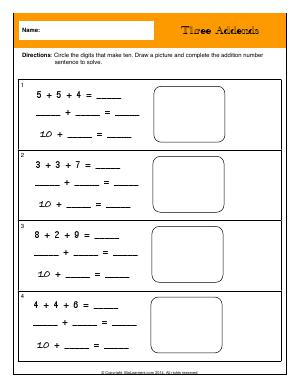 Preview image for worksheet with title Three Addends