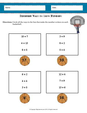 Preview image for worksheet with title Different Ways to Show Numbers