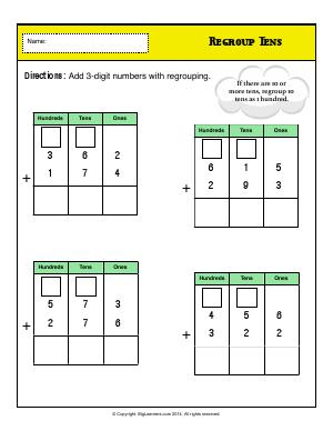 Preview image for worksheet with title Regroup Tens