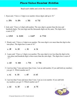 Preview image for worksheet with title Place Value Number Riddles