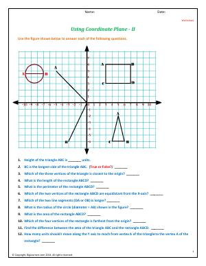 Preview image for worksheet with title Using Coordinate Plane - II
