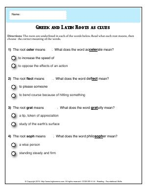 Preview image for worksheet with title Greek and Latin Roots as Clues