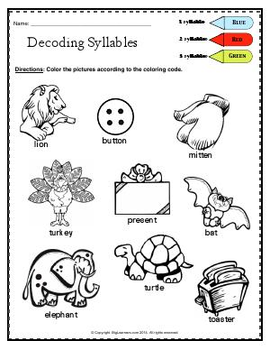 Preview image for worksheet with title Decoding Syllables