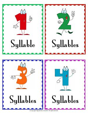 Preview image for worksheet with title Syllable Pocket Chart Cards and Words Cards