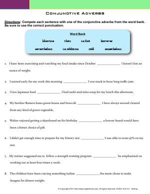Preview image for worksheet with title Conjunctive Adverbs