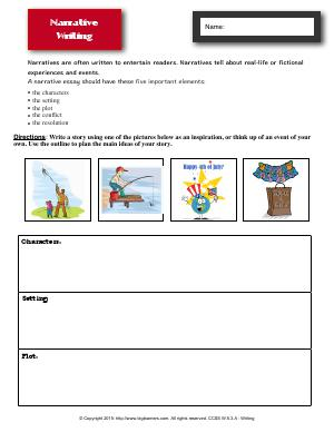 Preview image for worksheet with title Narrative Writing