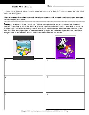 Preview image for worksheet with title Words and Details