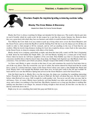 Preview image for worksheet with title Writing a Narrative Conclusion