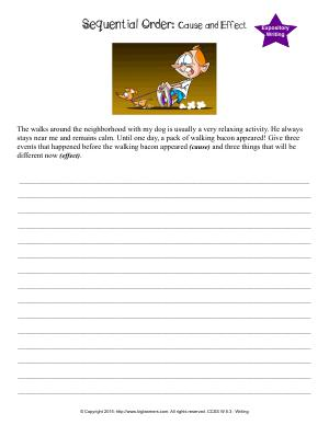 Preview image for worksheet with title Sequential Order: Cause and Effect
