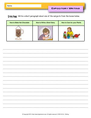 Preview image for worksheet with title Expository Writing