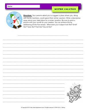 Preview image for worksheet with title Winter Vacation
