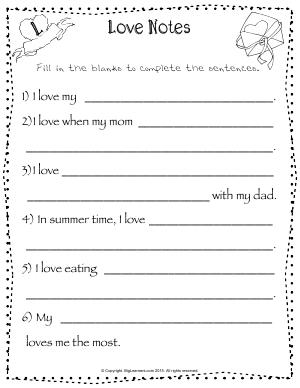Preview image for worksheet with title Love Notes