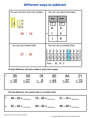 Preview image for worksheet with title Different Ways to Subtract