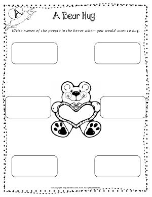 Preview image for worksheet with title A Bear Hug