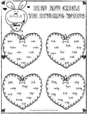 Preview image for worksheet with title Rhyming Words With Short a sound