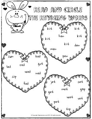 Preview image for worksheet with title Rhyming Words With Short e Sound