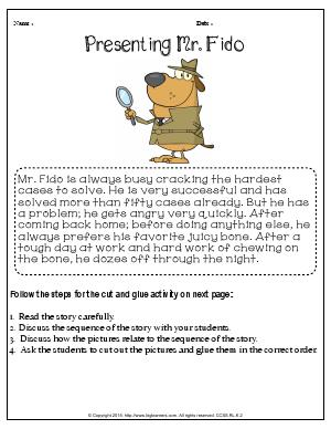 Preview image for worksheet with title Presenting Mr. Fido
