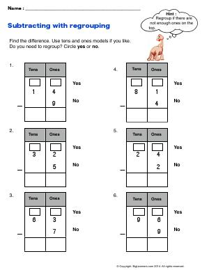 Preview image for worksheet with title Subtracting with Regrouping