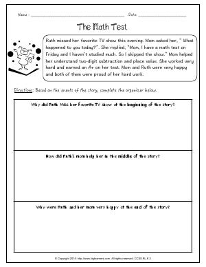 Preview image for worksheet with title The Math Test