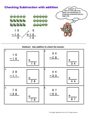 Preview image for worksheet with title Checking Subtraction with Addition