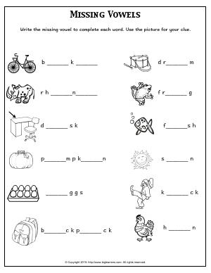 Preview image for worksheet with title Missing Vowels