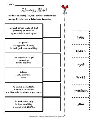 Preview image for worksheet with title Meanings Match