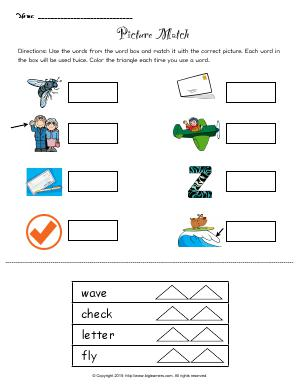 Preview image for worksheet with title Picture Match
