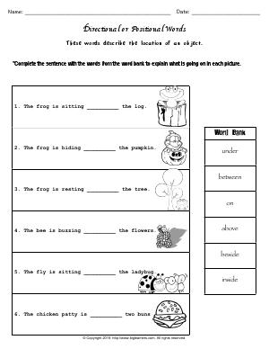 Preview image for worksheet with title Directional or Positional Words