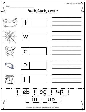 Preview image for worksheet with title Say It, Glue It, Write It